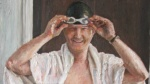Danny Mooney 'Self portrait (swimmer)' Oil on canvas 145 x 65 cm v2