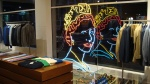 Danny Mooney 'Queen Elizabeth II in neon' at Richard James, Savile Row, London