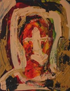 Danny Mooney 'Expressionist self portrait' Oil on wooden panel 47 x 37 cm