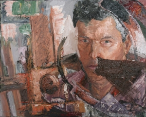 Danny Mooney 'Man in the mirror' Oil on canvas 40 x 50 cm