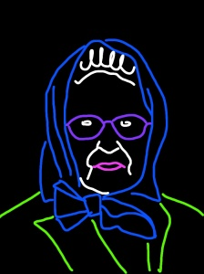 "Danny Mooney 'Proposal for a neon sculpture of Queen Elizabeth II - Headscarf"" iPad drawing"