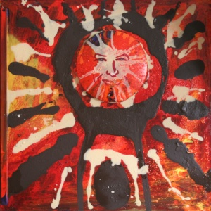 Danny Mooney 'Self portrait as a Wandjina' Mixed media on wooden panel 76 x 76 x 3 cm