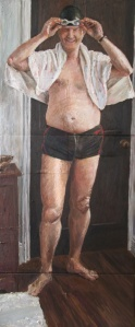 Danny Mooney 'Self portrait (swimmer)' Oil on canvas 145 x 60 cm