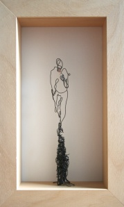 Danny Mooney 'Walking and smoking' Iron and bronze wire 38 x 23 x 9 cm