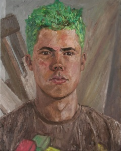 Danny Mooney 'Xav with green hair' Oil on linen 50 x 40 cm