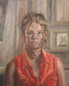 Danny Mooney 'Izzy in her orange dress' Oil on linen 50 x 40 cm