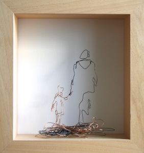 Danny Mooney 'Parent and child' Iron and bronze wire 34.5 x 32.5 x 9 cm framed