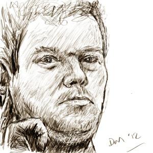 Danny Mooney 'Self portrait in the shaving mirror' digital drawing