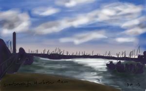 Danny Mooney 'Scarborough Harbour 9 a.m.' Digital drawing