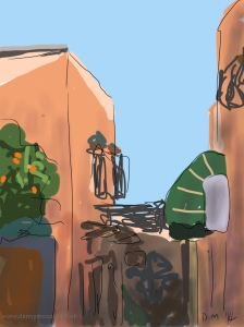 Danny Mooney 'Before the crowds, Marrakech' 4/2/2014 Digital painting