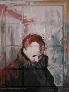 Danny Mooney 'Black eye' Mixed media on canvas 50 x 40 cm