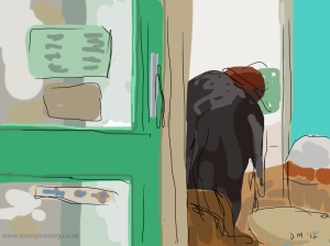 Danny Mooney 'Cleaning windows' 29/1/2014 Digital painting
