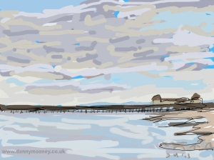 Danny Mooney 'Hastings Pier, cloudy sky' Digital painting