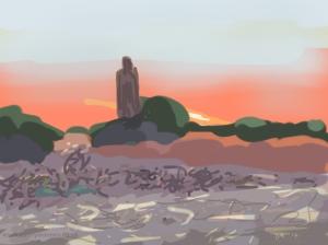 Danny Mooney 'Jemaa el Fna, sunset' 4/2/2014 Digital painting