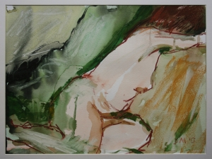 Danny Mooney 'Sarah (Reclining nude)' Mixed media 30.5 x 40.6 cm