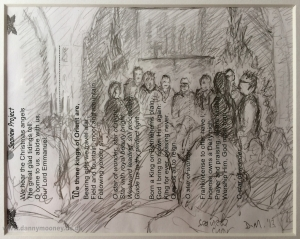 Danny Mooney 'Seaview Choir Xmas, 2013' Graphite on paper 14.8 x 21 cm