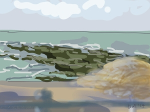 Danny Mooney 'Sharp west wind, Goat ledge' 21/2/2014 Digital painting
