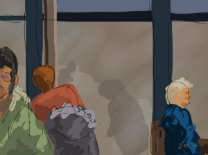 Danny Mooney 'Sheltering in Café Nero' 8/2/2014 Digital painting