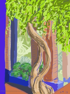 Danny Mooney 'Sitting quietly Majorelle gardens' 6/2/2014 digital painting