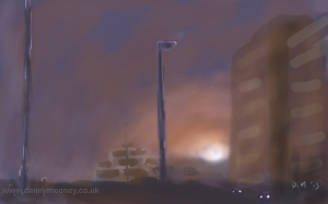Danny Mooney 'Sunset and sea mist' Digital drawing
