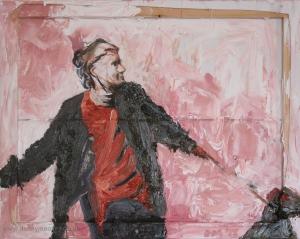 Danny Mooney 'This way!' Mixed media on canvas 40 x 50 cm