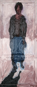 Danny Mooney 'Walking figure' Oil on canvas 70 x 30 cm