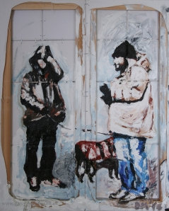 Danny Mooney 'Walking the dog' Mixed media on canvas 50 x 40 cm
