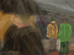 Danny Mooney 'Rainy Lanes, Brighton 2/3/2014' Digital painting