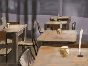 Danny Mooney 'Shop Café, 7/4/2014' Digital painting