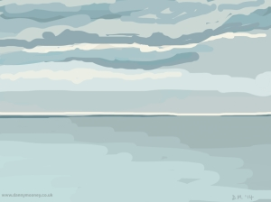 Danny Mooney 'Cloudy sky, Calm sea, 20/5/2014' iPad painting