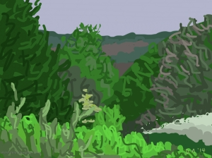 Danny Mooney 'Newgate Wood, 15/5/2014' iPad painting