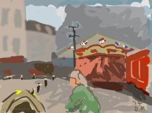 Danny Mooney 'Sitting in Café Nero, 6/5/2014' iPad painting