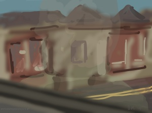 Danny Mooney 'Bus reflection, 12/6/2014' iPad painting