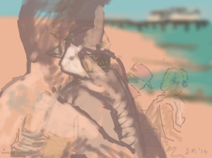 Danny Mooney 'Life drawing on the beach, 13/6/2014' iPad painting