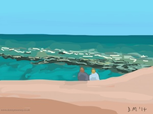 Danny Mooney 'On the beach, 10/6/2014' iPad painting