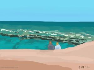 Danny Mooney 'On the beach, 10/6/2014' iPad painting