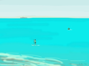 Danny Mooney 'Paddle boarder, 23/6/2014' ipad painting #APAD