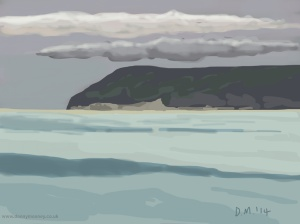 Danny Mooney 'Playful clouds, Bexhill, 18/6/2014' iPad painting #APAD