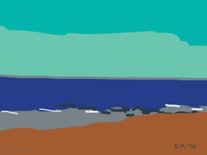Danny Mooney 'Blue sea, 11/7/2014' iPad painting #APAD