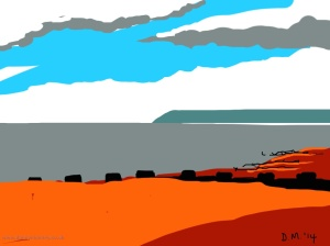 Danny Mooney 'Chips on the beach, 7/7/2014' iPad painting #APAD