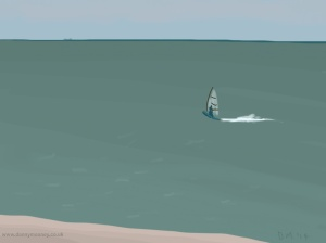 Danny Mooney 'Windsurfer, 1/7/2014' iPad painting #APAD