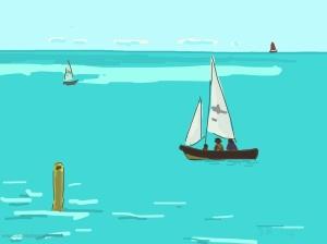 Danny Mooney 'Evening Sailing, 24/8/2014' iPad drawing #APAD