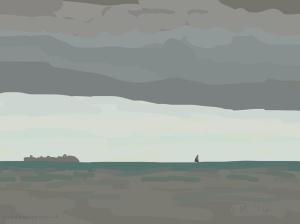 Danny Mooney 'Hull down, 28/8/2014' iPad drawing #APAD