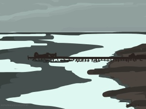 Danny Mooney 'Pier, 29/8/2014' iPad drawing #APAD