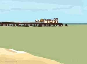 Danny Mooney 'Pier and green sea, 31/8/2014' iPad drawing #APAD