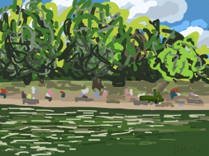 Danny Mooney 'St James's Park, 9/8/2014' iPad drawing #APAD