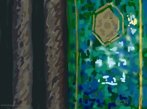 Danny Mooney 'Turquoise tiles are hard to do, Leighton House, 20/8/2014' iPad drawing #APAD
