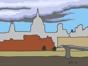 Danny Mooney 'View from Tate Modern, 19/8/2014' iPad drawing #APAD