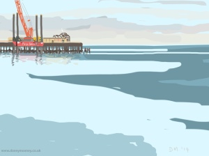 Danny Mooney 'Blue sea, orange crane, 27/9/2014' iPad painting #APAD