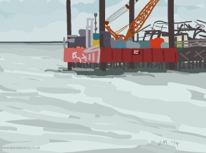 Danny Mooney 'Jack-up barge, close up, 24/9/2014' iPad painting #APAD